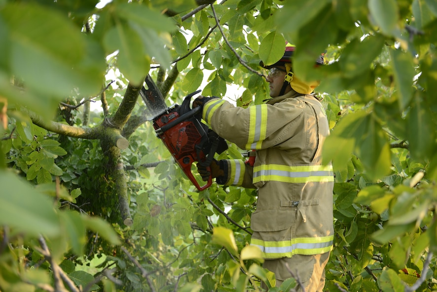 Fabrizio La Marca, 31st Civil Engineer Squadron firefighter, cuts up a tree obstructing traffic near an off ramp Aug. 10, 2017 in Pordenone Province, Italy. The 31st CES firefighters teamed with local first responders to clear roadways after heavy thunderstorms passed through the area. (U.S. Air Force photo by Tech. Sgt. Andrew Satran)