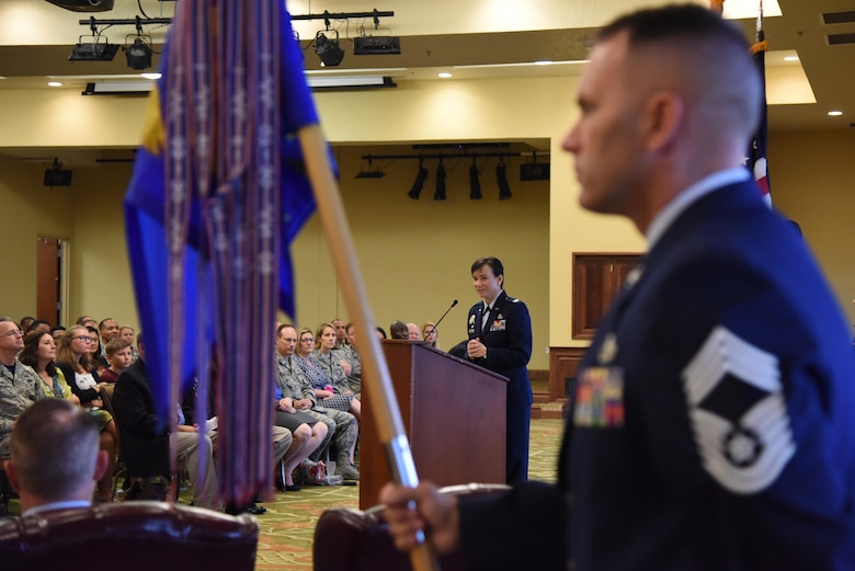 Col. Debra Lovette, 81st Training Wing commander, delivers remarks during the 81st Training Group change of command ceremony in the Bay Breeze Event Center Aug. 4, 2017, on Keesler Air Force Base, Miss. The ceremony is a symbol of command being exchanged from one commander to the next by the hand off of a ceremonial guidon. Col. Scott Solomon passed on command of the 81st TRG to Col. Leo Lawson, Jr. (U.S. Air Force photo by Kemberly Groue)