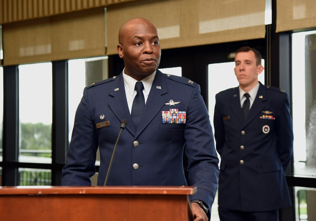 Col. Leo Lawson, Jr., 81st Training Group commander, gives remarks during the 81st TRG change of command ceremony in the Bay Breeze Event Center Aug. 4, 2017, on Keesler Air Force Base, Miss. Lawson assumed command from Col. Scott Solomon. (U.S. Air Force photo by Kemberly Groue)