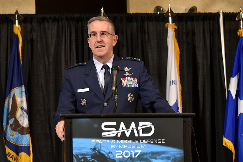 Air Force Gen. John E. Hyten, commander of U.S. Strategic Command, speaks at the 20th annual Space and Missile Defense Symposium.