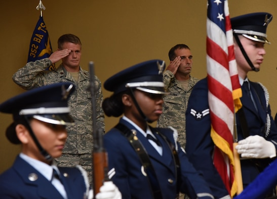 Maj. Trent Joy, 352nd Battlefield Airmen Training Squadron commander, Pope Field, N.C., and Capt. Jesse Sullivan, incoming Detachment 1, 352nd BA TS commander, render a salute during the Detachment 1, 352nd BA TS Activation Ceremony in the Bay Breeze Event Center Aug. 2, 2017, on Keesler Air Force Base, Miss. Sullivan assumed command of the squadron, which provides the Department of Defense, Air Force Special Operations Command and the 24th Special Operations Wing with mission ready Combat Controllers and Special Operations Weathermen. (U.S. Air Force photo by Kemberly Groue)