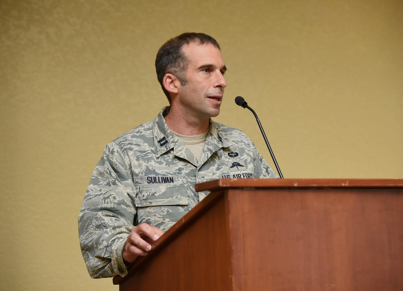 Capt. Jesse Sullivan, Detachment 1, 352nd Battlefield Airmen Training Squadron commander, delivers remarks during the Detachment 1, 352nd BA TS Activation Ceremony in the Bay Breeze Event Center Aug. 2, 2017, on Keesler Air Force Base, Miss. Sullivan assumed command of the squadron, which provides the Department of Defense, Air Force Special Operations Command and the 24th Special Operations Wing with mission ready Combat Controllers and Special Operations Weathermen. (U.S. Air Force photo by Kemberly Groue)