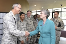 Secretary of the Air Force Heather Wilson visited 25th Air Force Airmen during her trip to Joint Base Langley-Eustis, Virginia, Aug. 3, 2017.