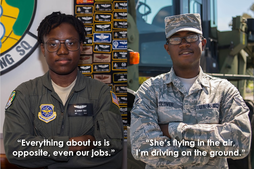 U.S. Air Force Airman 1st Class Dejahnay Fort, a boom operator assigned to the 91st Air Refueling Squadron, and Airman 1st Class Randall Glover, a vehicle operator assigned to the 6th Logistics Readiness Squadron, pause for a photo at MacDill Air Force Base Fla., August 10, 2017. Fort and Glover became friends in high school and happened to get stationed together. (U.S. Air Force photo illustration by Airman 1st Class Caleb Nunez)