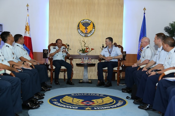 Philippine Air Force (PAF) Lt. Gen. Edgar Fallorina, PAF commanding general, left, and U.S. Air Force Brig. Gen. Craig Wills, Pacific Air Forces director of strategy, plans and programs, meet for an office call during the Airman-to-Airman (A2A) talks at Villamor Air Base, Manila, Philippines, Aug. 1, 2017. The A2A talks between Pacific Air Forces and the Philippine Air Force is a forum to plan and discuss future operations, activities and actions (OAA) and strengthen the AF-AF relationship. The talks are air forces specific enabling dialogue for regional security cooperation in air operations. (Courtesy photo/Maj. Joshua Coakley)