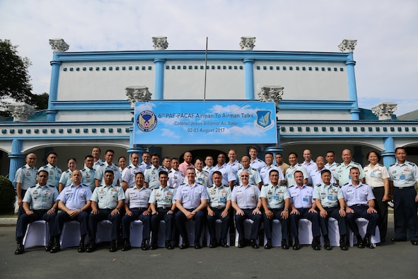 U.S. and Philippines air forces pose for a group photo during the Airman-to-Airman (A2A) talks at Villamor Air Base, Manila, Philippines, Aug. 3, 2017. The A2A talks between Pacific Air Forces and the Philippine Air Force is a forum to plan and discuss future operations, activities and actions (OAA) and strengthen the AF-AF relationship. The talks are air forces specific enabling dialogue for regional security cooperation in air operations. (Courtesy photo/Maj. Joshua Coakley)