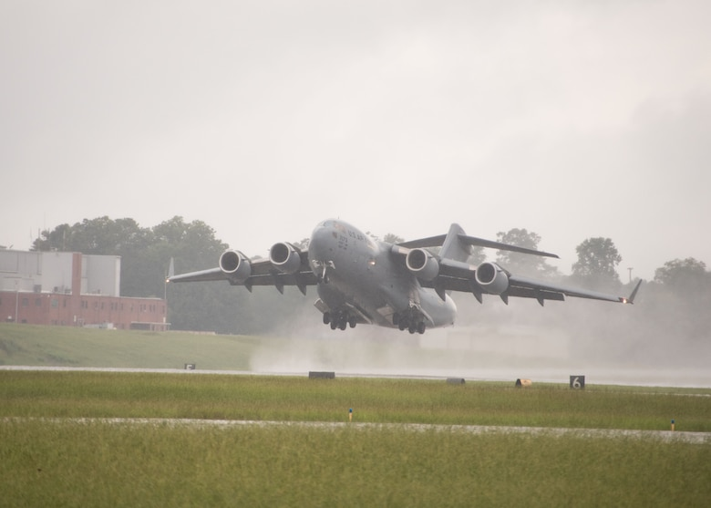 A C-17 Globemaster III takes off from the flightline at Dobbins Air Reserve Base, Ga. on Aug. 10, 2017. The C-17 is from Dover Air Force Base, Del. (U.S. Air Force photo/Staff Sgt. Andrew Park)