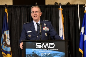 "Air Force Gen. John E. Hyten, commander of U.S. Strategic Command, speaks at the 20th annual Space and Missile Defense Symposium on ""Enabling Decisive Action in a Multi-Domain Environment"" at the Von Braun Center in Huntsville, Alabama, Aug. 8, 2017. Army photo by Jason B. Cutshaw"