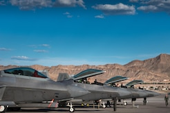 U.S. Air Force F-22 Raptors from 94th Fighter Squadron landed at Nellis Air Force Base, Nev., Aug.  10, 2017.  The aircraft are assigned to the 1st Fighter Wing from Joint Base Langley-Eustis Air Force Base, Va., and will conduct air combat training sorties with various aircraft during Red Flag 17-4, running from Aug. 14 to 25. (U.S. Air Force Photo/Staff Sgt. Carlin Leslie)