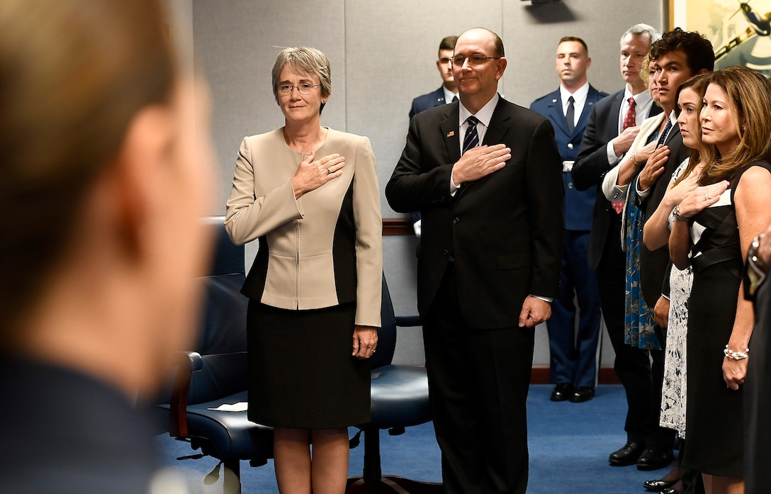 Secretary of the Air Force Heather Wilson and to-be sworn in undersecretary of the Air Force Matthew Donovan stand during the National Anthem at his swearing-in ceremony at the Pentagon in Arlington County, Va., Aug. 11, 2017. (U.S. Air Force photo/Scott M. Ash)