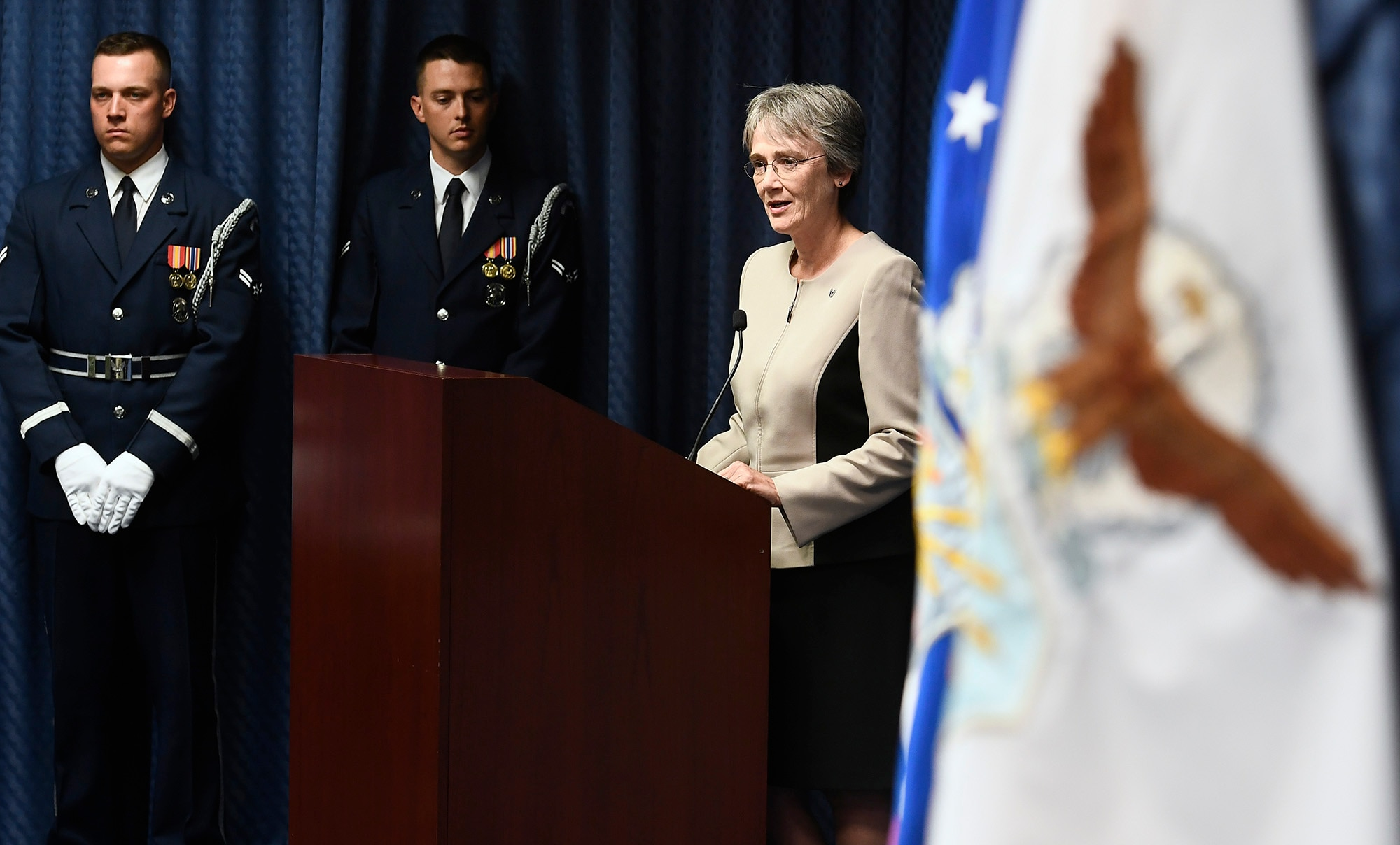 Secretary of the Air Force Heather Wilson congratulates undersecretary of the Air Force Matthew Donovan during his swearing-in ceremony at the Pentagon in Arlington County, Va., Aug. 11, 2017. (U.S. Air Force photo/Scott M. Ash)