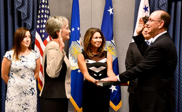 Secretary of the Air Force Heather Wilson swears into office undersecretary of the Air Force Matthew Donovan in a ceremony at the Pentagon in Arlington County, Va., Aug. 11, 2017. (U.S. Air Force photo/Scott M. Ash)