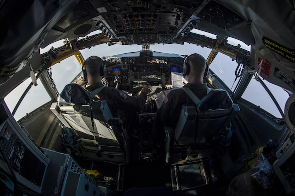 Capt. Aaron Cho (left) and Capt. Jared MacNaught, both pilots from the 349th Air Refueling Squadron, McConnell Air Force Base, Kan., fly a KC-135 Stratotanker into a visual approach during Exercise Mobility Guardian, while flying over Yakima, Wash.,  Aug. 3, 2017. More than 3,000 Airmen, Soldiers, Sailors, Marines and international partners converged on the state of Washington in support of Mobility Guardian. The exercise is intended to test the abilities of the Mobility Air Forces to execute rapid global mobility missions in dynamic, contested environments. Mobility Guardian is Air Mobility Command's premier exercise, providing an opportunity for the Mobility Air Forces to train with joint and international partners in airlift, air refueling, aeromedical evacuation and mobility support. The exercise is designed to sharpen Airmen's skills in support of combatant commander requirements. (U.S. Air Force photo/Senior Airman Clayton Cupit)