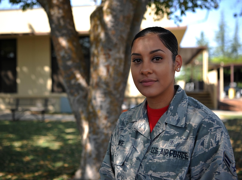 Airman 1st Class Regina Wise, 9th Medical Operations Squadron pediatric medical technician, poses for a photo.