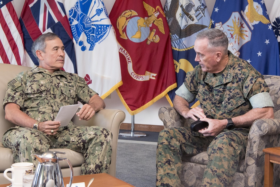 Marine Corps Gen. Joe Dunford, chairman of the Joint Chiefs of Staff, meets with Navy Adm. Harry B. Harris Jr., commander of U.S. Pacific Command, at Pacom headquarters at Joint Base Pearl Harbor-Hickam, Hawaii, Aug. 11, 2017. DoD photo by Navy Petty Officer 1st Class Dominique A. Pineiro