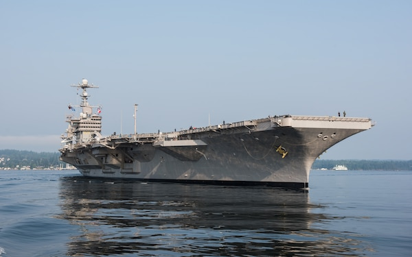 The Nimitz-class aircraft carrier USS John C. Stennis (CVN 74) transits Puget Sound Aug. 11, 2017. John C. Stennis is underway for sea trials three days ahead of schedule during a planned incremental availability (PIA) at Puget Sound Naval Shipyard and Intermediate Maintenance Facility. During PIA, the ship and shipyard team accomplished the largest work package ever for an aircraft carrier in a six-month availability.  (U.S. Navy photo by Mass Communication Specialist 3rd Class Dakota Rayburn)