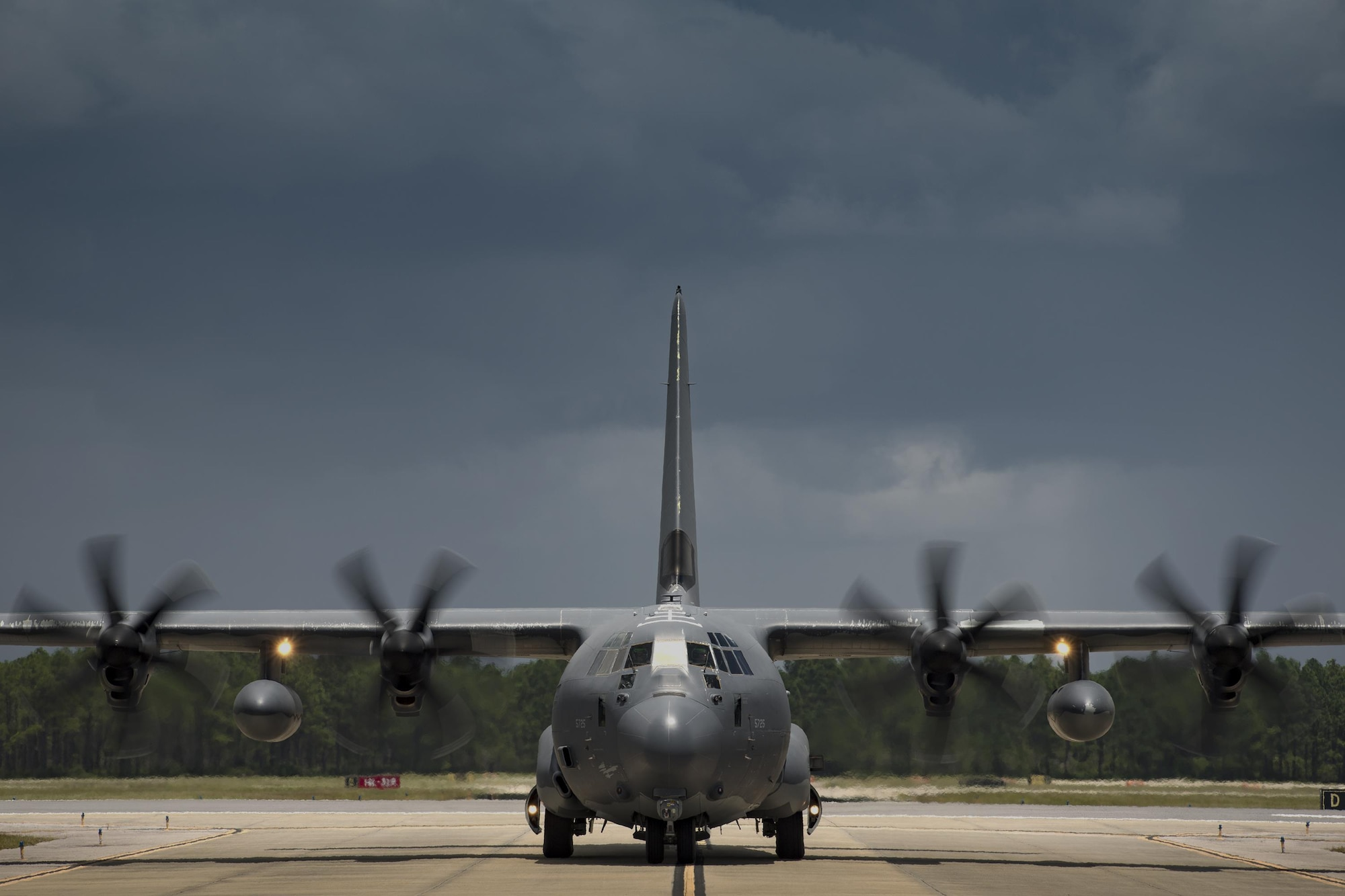 An HC-130J Combat King II from the 71st Rescue Squadron taxis towards the parking ramp during Stealth Guardian, Aug. 9, 2017, at Tyndall Air Force Base, Fla.