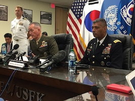 Marine Corps Gen. Joe Dunford, chairman of the Joint Chiefs of Staff, and Army Gen. Vincent K. Brooks, the U.S. Forces Korea commander, answer media questions.