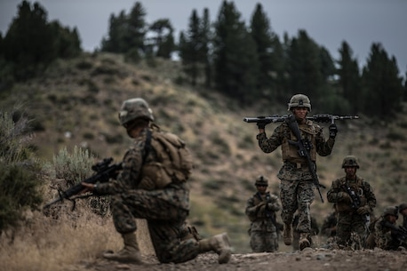 BRIDGEPORT, Calif. - U.S. Marines with Combat Logistics Battalion 5, Combat Logistics Regiment 1, 1st Marine Logistics Group, participate in a combat physical training session during Mountain Training Exercise 4-17 at Marine Corps Mountain Warfare Training Center, Aug. 2, 2017. The combat physical training session gauges the Marines fitness levels and ensures they're fully capable of operating in a mountainous environment. (U.S. Marine Corps photo by Lance Cpl. Timothy Shoemaker)