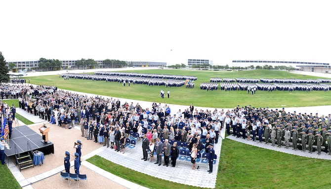 Staff, faculty and the 4,000-member Cadet Wing at the U.S. Air Force Academy welcome Lt. Gen. Jay Silveria as the new superintendent of the Academy, Aug 11, 20017. (U.S. Air Force photo/Jason Gutierrez)