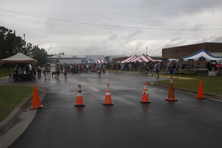 Participants gather for the Run to Remember memorial run at Camp Lejeune, N.C., Aug 5, 2017. The run is held every first Saturday of August in honor of Sgt. Lucas Pyeatt, a cryptologic linguist killed in action during Operation Enduring Freedom, February 2011, and other service members killed in action.