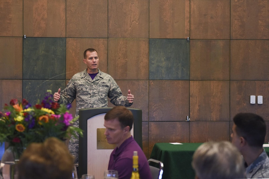 U.S. Air Force Col. Jeffrey Sorrell, 17th Training Wing vice commander, speaks to San Angelo civic leaders about the STARBASE program at the San Angelo Museum of Fine Arts, San Angelo, Texas, Aug. 11, 2017. The program engages elementary students through hands-on experiential activities like metric measurement, estimation, calculation geometry and data analysis. (U.S. Air Force photo by Airman 1st Class Chase Sousa/Released)