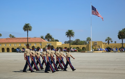 Marines from Golf Company, 2nd Recruit Training Battalion, march as a company for the last time on graduation day at Marine Corps Recruit Depot San Diego, today. Graduation takes place at the completion of a 13-week transformation including training in drill, marksmanship, basic combat skills and Marine Corps customs and traditions. Annually, more than 17,000 males recruited from the Western Recruiting Region are trained at MCRD San Diego.