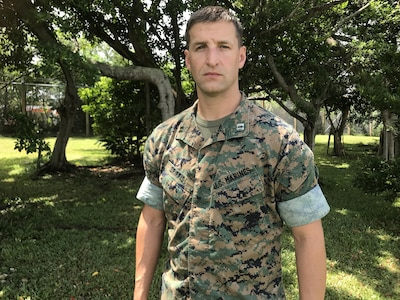Marine Corps Capt. Justin Griffis, a current operations and training officer with Marine Air Control Group 18, 1st Marine Aircraft Wing, assisted in the rescue of a 7-year old Japanese boy who almost drowned at Maeda Flats, Okinawa, Japan, July 23, 2017. Marine Corps photo by Sgt. Laura Gauna