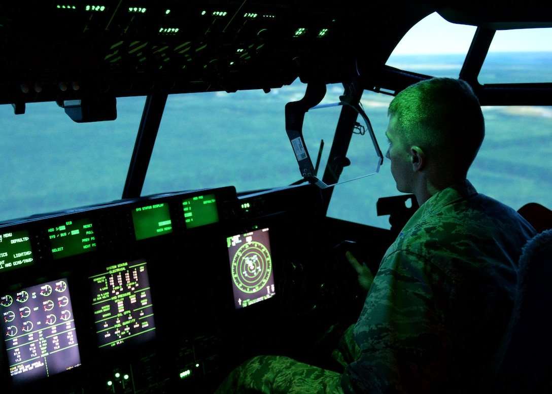The Center of Excellence, Located at Little Rock Air Force Base, uses simulators as a way to train aircrew. A SIM is a machine which provides a realistic imitation of an aircraft and is used for training purposes. The simulators have a variety of features: day and night imitations, accurate terrain maps of different locations world-wide and simulated malfunctions in an aircraft. (U.S. Air Force photo by Airman 1st Class Codie Collins)