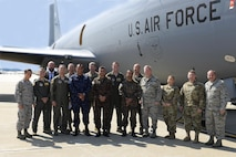 Members of the 157th Air Refueling Wing, the 64th Air Refueling Squadron, the United States Army and the Salvadoran Armed Forces pose for a group photo beside a Boeing KC-135 Stratotanker on August 10, 2017 at Pease Air National Guard Base, N.H. Senior Leaders from El Salvador visited the 157th ARW in an effort to build upon the existing bilateral relationship between the United States and the Salvadoran Armed Forces. (U.S. Air National Guard photo by Staff Sgt. Kayla Rorick)