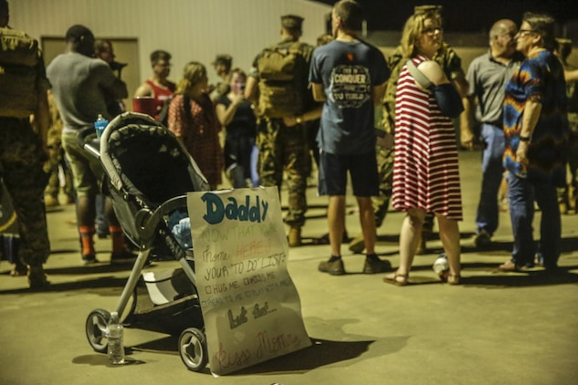 A sign welcoming back a Marine from deployment, at Camp Lejeune, N.C., August 12, 2017. Marines and Sailors returned from a 6-month Unit Deployment Program in Okinawa, Japan. V38 conducted exercises in Okinawa, Mainland Japan, South Korea, Thailand, the Philippines, Guam and other smaller islands. (U.S. Marine Corps photo by Lance Cpl. Leynard Kyle Plazo)