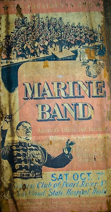 In Fall 2016, Steven Kaplan of New City, N.Y., contacted the Marine Band about donating a tour poster. The poster, which he found in an attic, was from the Oct. 7, 1961, tour concert in the neighboring town of Pearl River, N.Y.