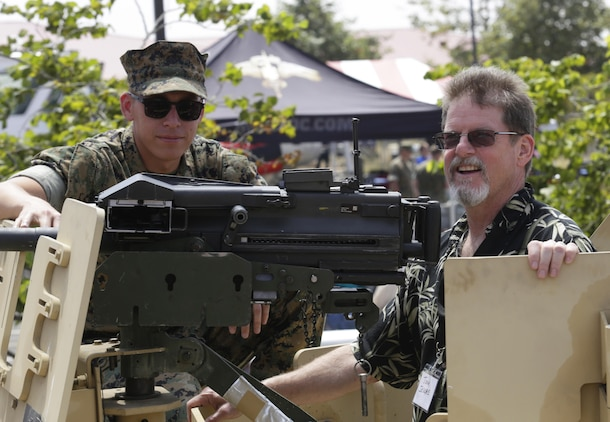 Bruce Burlingham, U.S. Marine Raider Association, observes a diving demonstration at the annual Gold Star Families and Raider Reunion at the 1st Marine Raider Battalion Headquarters on August 11, 2017. The reunion is held annually to honor the families of the fallen and to maintain ties to the original Marine Raiders. (U.S. Marine Corps photo by Lance Cpl. Lukas Kalinauskas)