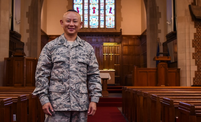 U.S. Air Force Capt. Alex Lu, 633rd Air Base Wing chaplain, visits the Langley Chapel at Joint Base Langley-Eustis, Va., July 25, 2017.