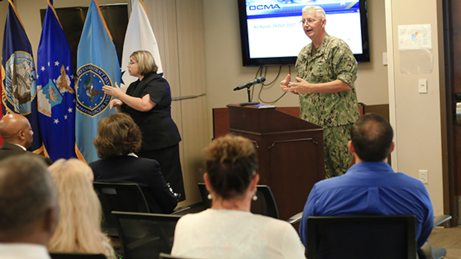 Defense Contract Management Agency director, Navy Vice Adm. David Lewis discusses his goals over the next few years to the agency during the first global all hands on July 26, 2017 at Fort Lee, Virginia. (DCMA photo by Elizabeth Szoke)