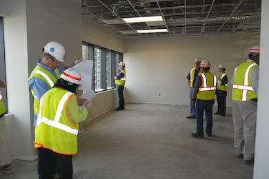 Drywall is being placed on interior walls and offices are becoming visible as the new headquarters building at ERDC Vicksburg nears completion.  Vicksburg staff were able to tour the interior with Yates Construction and Mobile District staff June 30.