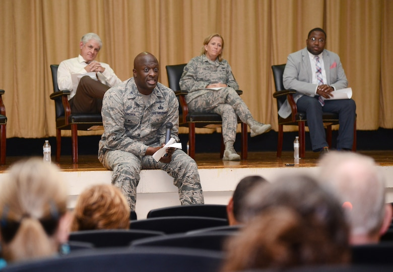 72nd Air Base Wing Vice Commander Col. Thomas Brown speaks to members of the Civilian Mentoring Council July 26. Other panel members included, from left, 72nd ABW Director of Staff Bob Sandlin, 72nd ABW Command Chief Master Sgt. Melissa Erb and Dr. Keith Hardiman, with the 72nd ABW's Communications Directorate.