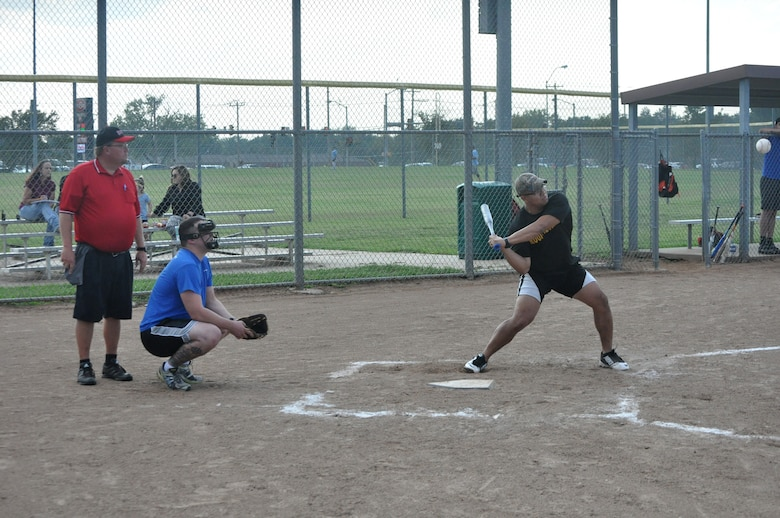 Manny Sandoval, with the A VQ-7 Rough Necks, sets his sights on the ball Aug. 8 as his team battled back through the losers bracket to win the 2017 Rec League softball championship on base.
