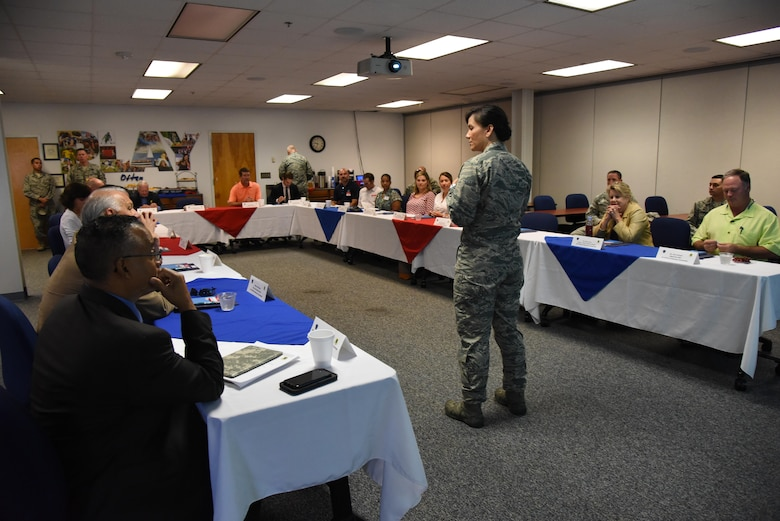Col. Debra Lovette, 81st Training Wing commander, delivers welcoming remarks during an honorary commanders 81st Mission Support Group orientation tour in the Sablich Center Aug. 10, 2017, on Keesler Air Force Base, Miss. The honorary commander program is a partnership between base leadership and local civic leaders to promote strong ties between military and civilian leaders. (U.S. Air Force photo by Kemberly Groue)