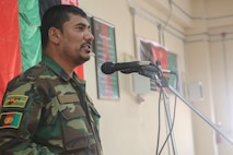 Afghan National Army Command Sgt. Maj. Alhaj Wafa, the sergeant major of 215th Corps, speaks with noncommissioned officers at Camp Shorabak, Afghanistan, Aug. 13, 2017. More than 100 ANA NCOs completed a three-day seminar led by Afghan senior enlisted leaders, who stressed the importance of leadership in combat and technical and tactical proficiency. (U.S. Marine Corps photo by Sgt. Lucas Hopkins)