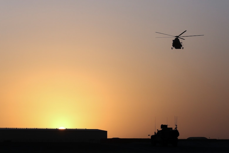 An Afghan Air Force Mi-17 Helicopter prepares to land at Camp Shorabak, Afghanistan during casualty evacuation training Aug. 14, 2017. More than 30 Afghan National Army soldiers with 215th Corps rehearsed and refined their CASEVAC process in preparation for future real-world missions. Quickening the CASEVAC process greatly enhances the survivability and recovery rates for wounded personnel. (U.S. Marine Corps photo by Sgt. Lucas Hopkins)