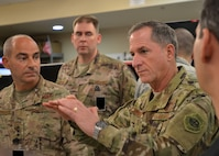 Air Force Chief of Staff Gen. David L. Goldfein addresses a group of Airmen in the Combined Air Operations Center at Al Udeid Air Base, Qatar, Aug. 15, 2017. Secretary of the Air Force Heather Wilson and Goldfein visited the CAOC to see the contributions of Airmen to air operations in the U.S. Central Command area of responsibility. (U.S. Air Force photo by Staff Sgt. Desiree Economides)