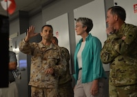 Secretary of the Air Force Heather Wilson and Air Force Chief of Staff Gen. David L. Goldfein listen to a member of the Italian Air Force, on Aug. 15, 2017, explain how the Coalition works together from the Combined Air Operations Center to defeat ISIS in Syria and Iraq. The Coalition, a joint and multi-national team, executes day-to-day air and space operations in the CAOC. (U.S. Air Force photo by Staff Sgt. Desiree Economides)