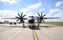 A U.S. Navy C-2A Greyhound sits on the flightline Aug. 2, 2017, on RAF Mildenhall, England. Members of the U.S. Navy, VRC-40, from Norfolk, Va., were here as part of Exercise Saxon Warrior, a multinational joint maritime exercise involving 15 warships from five different nations, along with submarines, more than 100 aircraft and approximately 9,000 personnel. (U.S. Air Force photo by Karen Abeyasekere)