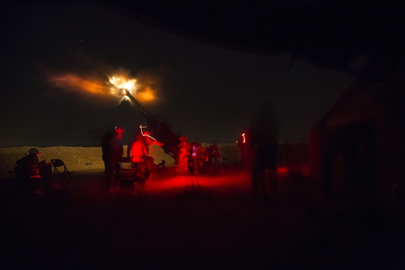 U.S. Soldiers assigned to 1st Battalion, 320 field Artillery Regiment, 2nd Brigade Combat Team, 101st Airborne Division (Air Assault) fire an M777 howitzer from Kara Soar Base, Iraq, during a night operation in support of the Iraqi Army June 3, 2016. Fire missions are one way the Coalition enables the Iraqi Army to defeat the Islamic State of Iraq and the Levant. Advise and assist teams enable Iraqi security forces as they prepare for upcoming operations by sharing intelligence and helping them develop security strategies and targeting plans. (U.S. Army Photos by Spc. Jaquan P. Turnbow/Released)