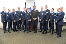 The rescue team of the 103rd Rescue Squadron of the 106th Rescue Wing assigned to the New York Air National Guard, are awarded the Slovenian Medal for Merit in the military field by the President Borut Pahor of Slovenia May 21, 2017. The ceremony took place at the Permanent Mission of the Republic of Slovenia office to the United Nations, New York for their international rescue mission to render aid to crew members injured in an explosion on board the motor vessel Tamar that began on April 24th. (U.S. Air National Guard Photo by Captain Michael O'Hagan)