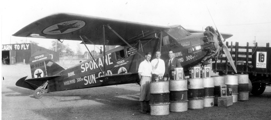 "On Aug. 15, 1929 the Spokane Sun God departed Felts Field and performed numerous mission firsts over the course of five days. Nick Mamer, also known as ""Mr. Spokane Aviation,"" and Art Walker, flew their Buhl CA-6 aircraft for approximately 120 hours. Their route took them from Spokane to San Francisco to New York and back to Spokane setting a world record for the longest non-stop flight of 7,200 lineal miles. From headwinds over Wyoming to bad weather over Pennsylvania, engine issues to forest fires; the pilots faced many obstacles during the course of their flight. However, despite all the obstacles, they successfully landed back at Felts Field at about 6 p.m. on Aug. 20, 1929. (Courtesy Photo)"