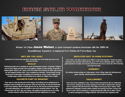 This week's Rock Solid Warrior is Airman 1st Class Jason Wainer, a cyber transport systems technician, deployed from Robins Air Force Base, Ga. The Rock Solid Warrior program is a way to recognize and spotlight the Airmen of the 386th Air Expeditionary Wing for their positive impact and commitment to the mission.