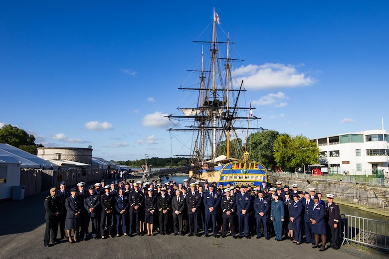 Participants of the 23rd Annual International Junior Officer Development (IJOLD) course, held in Rochefort Air Base, France, July 22-29, pose for a group photo in front of the L'Hermione. IJOLD is designed to enhance and develop leadership skills, cultural understanding and military doctrine of NATO nations. (Courtesy Photo)