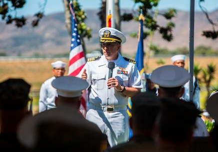 U.S. Navy Capt. Martin J. Anerino gives his remarks to the Marines, Sailors, family and friends attending the 1st Dental Battalion change of charge ceremony at Camp Pendleton, Calif., Aug. 16, 2017. Anerino assumed command from Capt. Peter A. Ruocco after serving three years as the commanding officer of 1st Den Bn. (U.S. Marine Corps photo by Lance Cpl. Joseph Sorci)